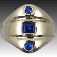 14K Mid Century Blue Sapphire and Blue Spinel Ring