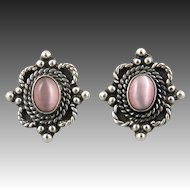 Sterling Silver and Pink Cat's Eye Glass Earrings