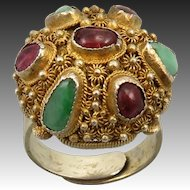 Chinese Asian Rubelite Tourmaline and Jade Gilded Silver Ring
