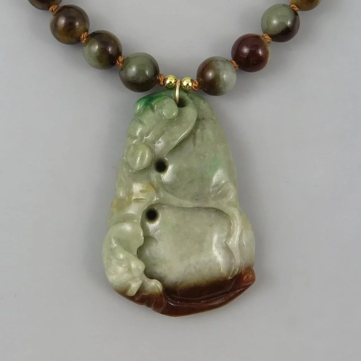 Carved chinese jade pendant necklace natural bi color jadeite 25 carved chinese jade pendant necklace natural bi color jadeite 25 aloadofball Gallery