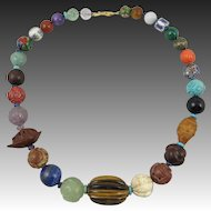 """Chinese Carved Asian Trade Bead Necklace 24"""""""
