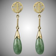 14K Green Jade Chinese Asian Teardrop Dangle Earrings