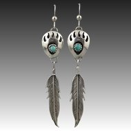 Southwestern Bear Paw and Feather Earrings Turquoise and Sterling