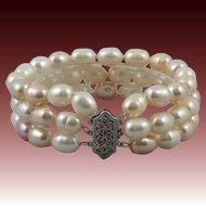 14K 3 Strand Light Pink Cultured Baroque Pearl Bracelet