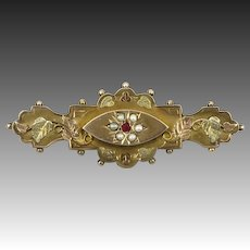 Victorian Seed Pearl and Garnet 9K Mourning Locket Brooch Signed C&C