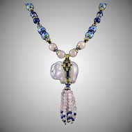 Carved Asian Elephant | Lapis | Garnet | Rose Quartz Tassel Necklace with 18K Enamel Vermeil Beads 32""