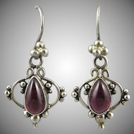 Garnet and Sterling Silver Dangle Earrings