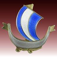Enamel on Silver Viking Ship Brooch Askel Holmsen Norway