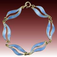 Guilloche Enamel Sterling Silver Bracelet By Askel Holmsen Norway