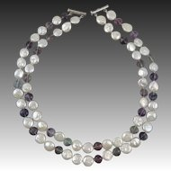 """2 Strand Cultured Coin Pearl and Rainbow Fluorite Necklace 21"""""""