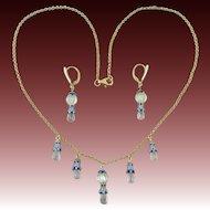 "Aquamarine and 18K Enamel Vermeil Festoon Necklace and Earrings 19"""