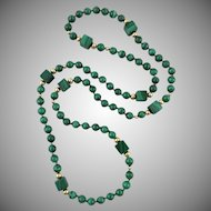 14K Malachite Square and Round Bead Necklace 32""