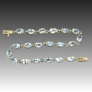 18ctw Sparkling Blue Topaz Tennis Bracelet in 10K Yellow Gold
