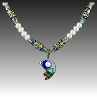 """Chinese Enamel on Gilded Silver Pearl Eye Fish and Cultured Button Pearl Necklace 21"""""""