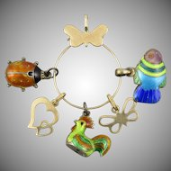 14K Charm Holder with 14K and Whimsical Enamel Chinese Asian Charms