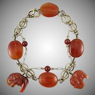 Pair of Art Deco Silver and Carnelian Bracelets