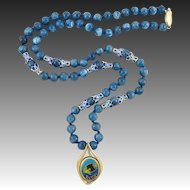 """14K Cloisonne Enamel Fish Pendant and Apatite Chinese Asian Bead Necklace 21"""""""
