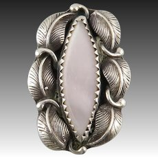 Navajo Sterling and Mother of Pearl Ring Signed