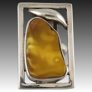 Butterscotch Amber Modernist Mid Century Sterling Silver Ring