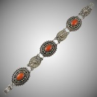 Red Coral and Silver Cannetille Work Bracelet from Israel