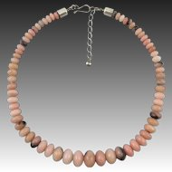 Peruvian Pink Opal Bead Necklace Sterling Silver Clasp 24""