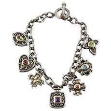 14K Gemstone and Sterling Silver Charm Bracelet