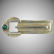 Oscar Caplan Art Deco Period Chrysoprase and Fine Silver Brooch