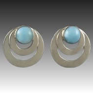 Larimar Sterling Circle Earrings