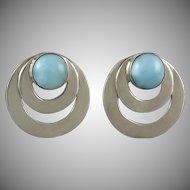 Larimar Sterling Circle Earrings