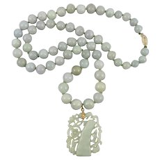"""Chinese Jadeite Jade Carved Bamboo Pendant Necklace 29"""""""