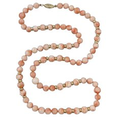 14K Carved and Smooth Pink Coral Bead Asian Necklace 23""