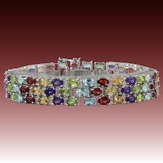 18ctw Sparkling Gemstone 3 Row Sterling Bracelet Peridot Garnet Amethyst Topaz Citrine
