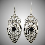 Puffy Onyx and Sterling Openwork Earrings