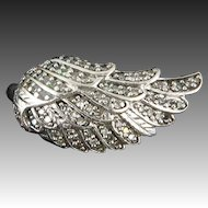 Diamond Pave Angel Wing Ring In Sterling Silver