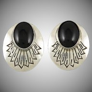 Black Onyx and Chased Silver Southwestern Style Earrings