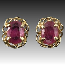 Sparkling 2/3ctw Ruby Earrings in14K Yellow Gold