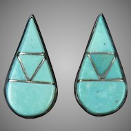 Turquoise And Sterling Silver Inlay Teardrops
