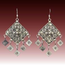Big Sterling Silver Dangle Earrings