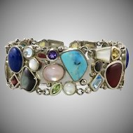 Multi Gemstone Sterling SIlver Panel Bracelet with Larimar Topaz Lapis Citrine Garnet Peridot