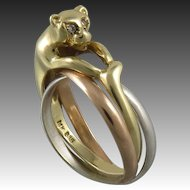 14K Diamond Eyed Panther Tri Color Rolling Rings