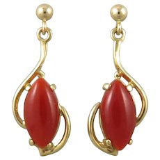 Natural Red Asian Aka Coral and 14K Earrings