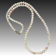 """Art Deco Period Pink and White Carved Asian Conch Shell Bead Necklace 25"""""""