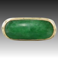 Chinese Asian Art Deco 18K Imperial Green Jade Saddle Ring