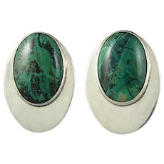 Large Chrysocolla and Sterling Silver Earrings Signed