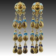 Chinese Asian Gilded Silver and Enamel Cascading Tiger Eye Agate Earrings