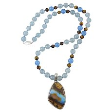 """Large Boulder Opal and Blue Chalcedony Sterling Silver Pendant Necklace 21.5"""""""