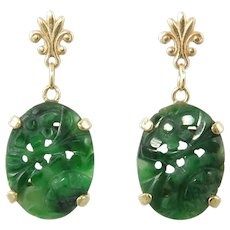 14K Chinese Carved Jade Jadeite Asian Art Deco Style Earrings Gorgeous Natural Green