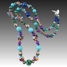Southwestern Inlay Bead and Colorful Gemstone Necklace 26""