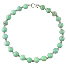 "Robin's Egg Blue Turquoise Necklace 19"" Large Beads"