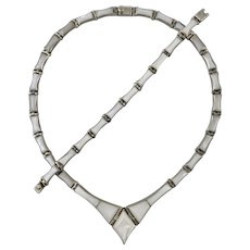 Vintage Taxco Mother of Pearl and 950 Silver Necklace and Bracelet